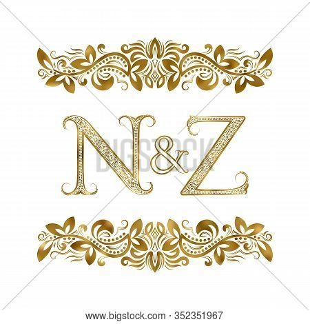 N And Z Vintage Initials Logo Symbol. The Letters Are Surrounded By Ornamental Elements. Wedding Or