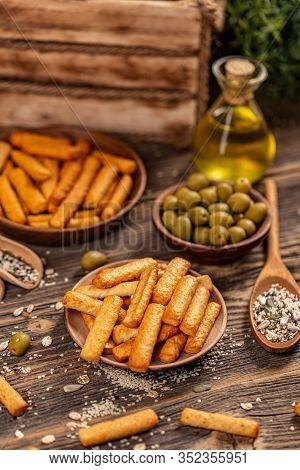 Natural Tasty Crispy Snack. Delicious Nutrition Homemade Grain Appetizer