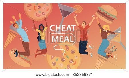 Cheat Meal Concept. Multiracial Happy People, Are Jumping Of Happy Among Junk Food. Cocktails, Pizza