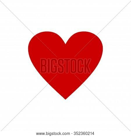 Heart Red Icon Isolated On White Background. Vector Illustration