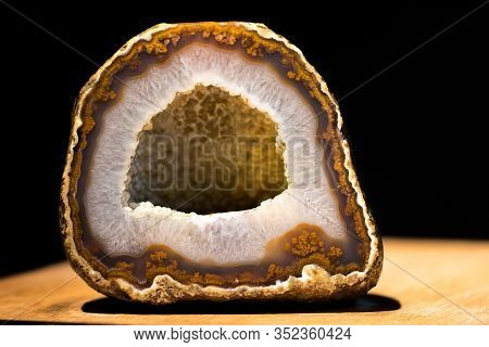 Geology. Agate Crystal Specimen Rock. Beautiful Geological Sample Of Brown Agate Crystal Stone Secti