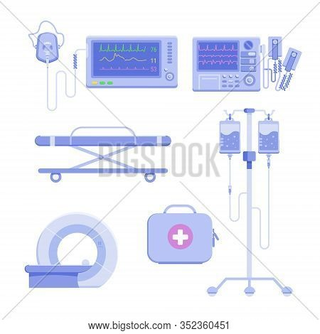 Medical Icon Set Of Defibrillator, Mri, Intravenous Infusion, First Aid Box Isolated On White Backgr