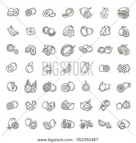 Fruits, Exotic Fruits, Vegetarian - Flat Icon Set