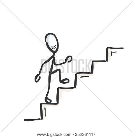 Going Up The Stairs. Successful Proud And Happy Man. Ascend Staircase. Hand Drawn. Stickman Cartoon.