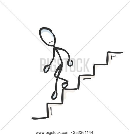 Going Down The Stairs. Unsuccessful Sad Man. Descend Staircase. Hand Drawn. Stickman Cartoon. Doodle