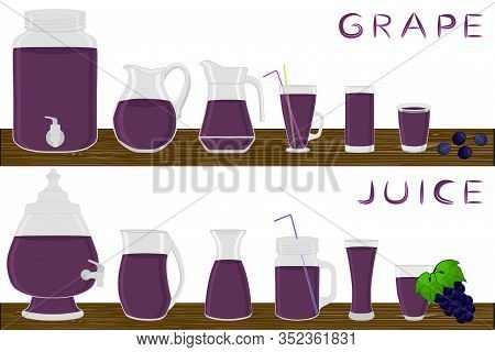Illustration On Theme Big Kit Different Types Glassware, Grape In Jugs Various Size. Glassware Consi