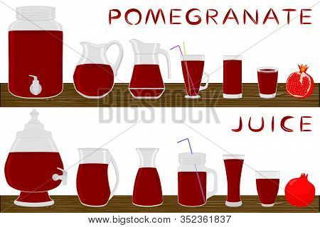 Big Kit Different Types Glassware, Pomegranate Jugs Various Size. Glassware Consisting Of Organic Pl
