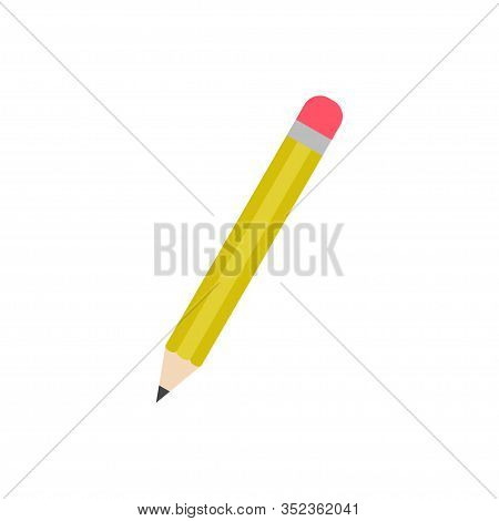 Yellow Pencil Sharpened With A Red Rubber Vector Icon Isolated On White Background