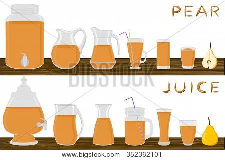 Illustration On Theme Big Kit Different Types Glassware, Pear In Jugs Various Size. Glassware Consis