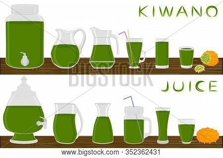 Illustration On Theme Big Kit Different Types Glassware, Kiwano Jugs Various Size. Glassware Consist