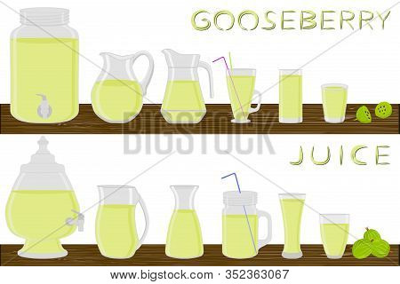 Big Kit Different Types Glassware, Gooseberry In Jugs Various Size. Glassware Consisting Of Organic