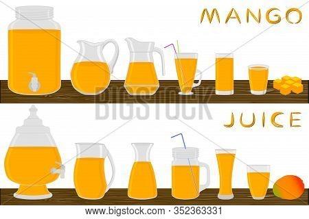Illustration On Theme Big Kit Different Types Glassware, Mango Jugs Various Size. Glassware Consisti