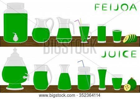 Illustration On Theme Big Kit Different Types Glassware, Feijoa Jugs Various Size. Glassware Consist