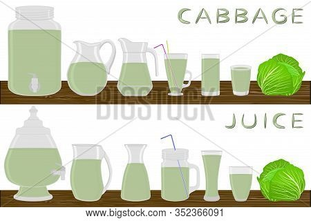 Illustration On Theme Big Kit Different Types Glassware, Cabbage Jugs Various Size. Glassware Consis