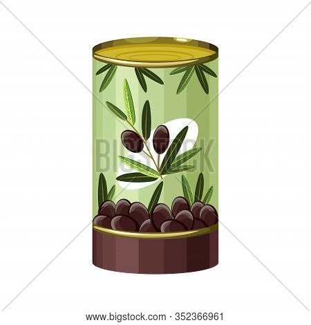 Cartoon Of Black Olives Tin Can Vector Icon For Web Design. Canned Black Olives In Metallic Can. Vec