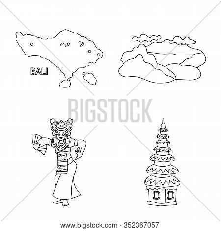 Isolated Object Of Balinese And Caribbean Sign. Collection Of Balinese And Geography Stock Vector Il