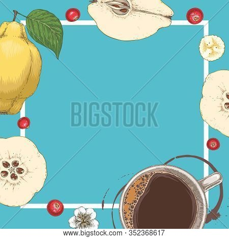 Square Menu Template. Coffee, White Flower, Quince And Cranberry On Blue Background With Blank Area