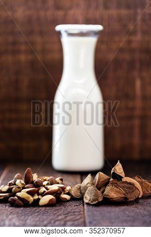 Vegan Milk Extracted From Chestnuts. Milk Extracted From The Brazilian Chestnut Known As