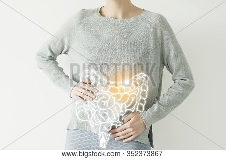 Woman In Casual Grey Clothes Suffering From Indigestion Pain, Highlighted Vector Visualisation Of In