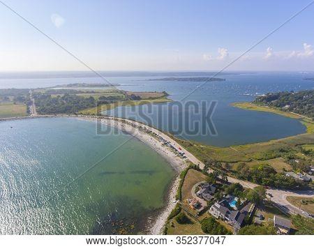 Mackeral Cove Beach And Dutch Island Harbor At  Narragansett Bay Aerial View In Summer, Jamestown, R
