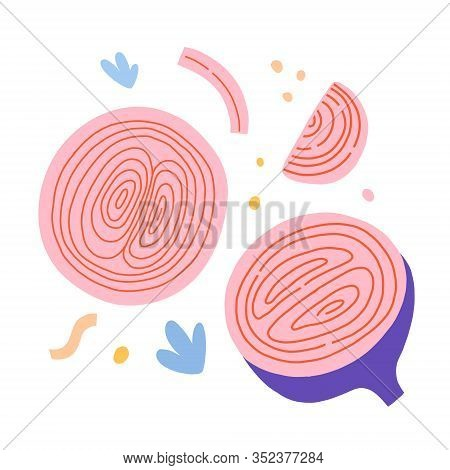 Red Onion Vegetable, Stilised Illustration Sliced Onion Cooking Ingredient, Isolated Vector Art, Nai