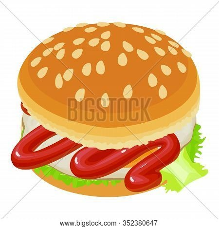 Tasty Burger Icon. Isometric Illustration Of Tasty Burger Vector Icon For Web