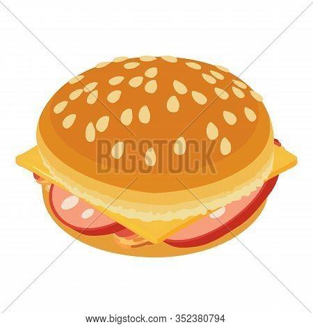 Tasty Cheeseburger Icon. Isometric Illustration Of Tasty Cheeseburger Vector Icon For Web