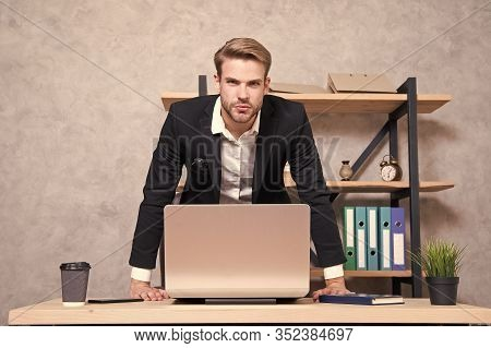 Firing Employees. Serious Boss Picky Looking At Camera. Boss With Laptop In Bad Mood. Man Strict Bea