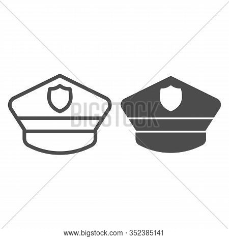Policeman Hat Line And Solid Icon. Police Officer City Cap. Jurisprudence Design Concept, Outline St
