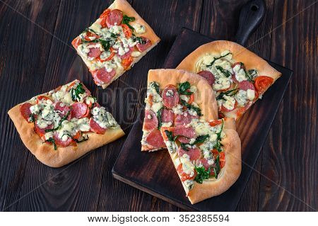 Spanish Coca With Blue Cheese, Fuet And Arugula