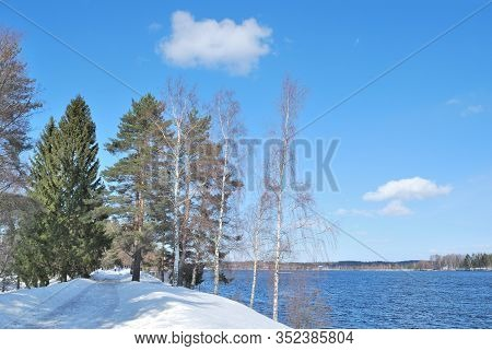 Imatra, Finland.  Beautiful Park And Lake Shore In The Early Spring