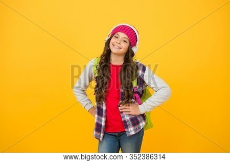 Confident Student. Small Schoolgirl Listen Music. Happy Holiday Time. Child Casual Style. Modern Onl