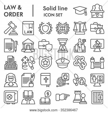 Jurisprudence Line Icon Set, Law And Order Collection, Vector Sketches, Logo Illustrations, Web Symb