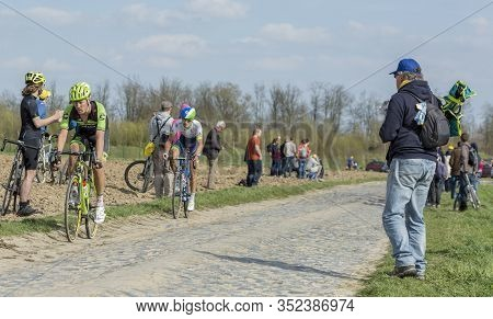 Gruson, France - April 12,2015: The Dutch Cyclist, Dylan Van Baarle Of Cannondale Team, Riding Durin