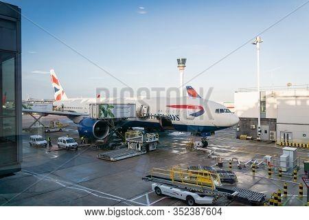 London, United Kingdom - February 2020: Delta Air Lines Aircraft On Runway Of London Heathrow Airpor