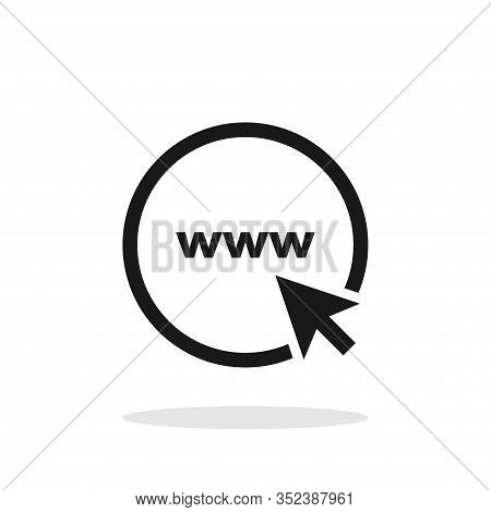 Www. Icon Go To Web. Website Icon. Www Icon With Hand Cursor Or Arrow In Simple Flat Design. Icon Go