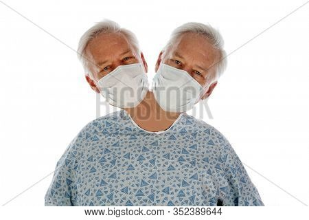 Man with Two Heads. A medical patient with TWO HEADS on One Body. Isolated on white. Room for text. Clipping Path. A Two Headed Man enjoys enjoys a special day out of the hospital. Siamese Twin Man.