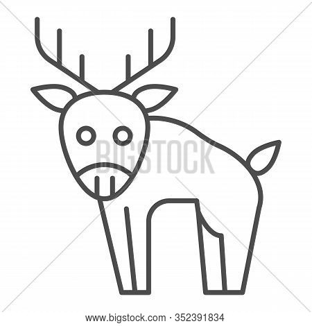 Deer Thin Line Icon. Horned Wild Forest Animal Silhouette. Animals Vector Design Concept, Outline St