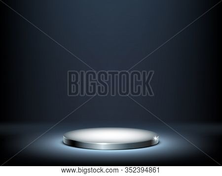 Round Podium, Illuminated Metal Pedestal. Circular Platform For Exhibition. Vector Realistic Mockup