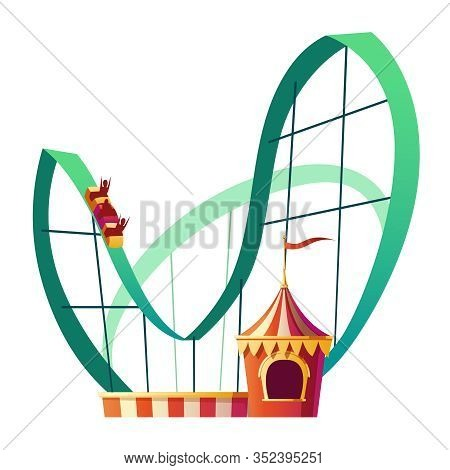 Roller Coaster Ride. Rollercoaster Attraction With Happy People In Amusement Carnival Park Isolated