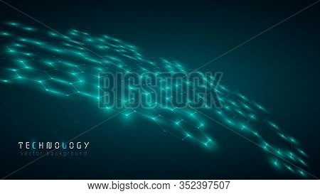 Green Blue Global Abstract Hexagon Net Technology Background,futuristic Hexagon Tech Background,cybe