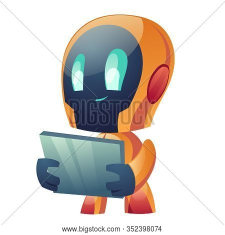 Robot Hold Tablet Isolated On White Background. Ai Chatbot Hotline Operator Advise Client, Online Gl