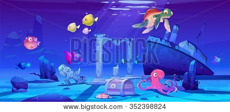 Underwater Background With Ocean Fish, Sunken Ship And Ruins. Vector Cartoon Of Deep Seafloor With M