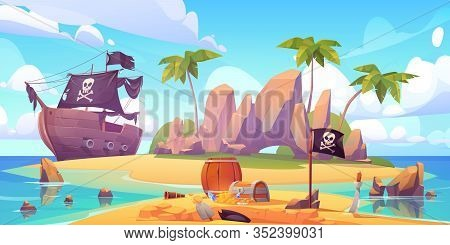 Pirate Buries Treasure Chest On Island Beach. Vector Cartoon Illustration Of Sea Landscape With Wood