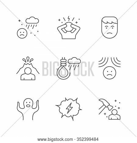 Set Line Icons Of Stress And Depression Isolated On White. Phobia, Fear, Suicide, Emotional Pressure