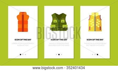 Waistcoat And Vest Flat Icon Set. Life, Protection, Warm Isolated Vector Sign Pack. Clothing And Fas