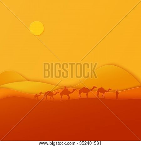 Silhouette Caravan Desert Camels In Paper Cut Style. Nature Panoramic Sand Landscape With Arabian Tr