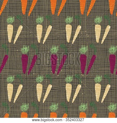 Multicolored Rainbow Carrots Textured Illustration On Checked Burlap Background. Seamless Vector Pat