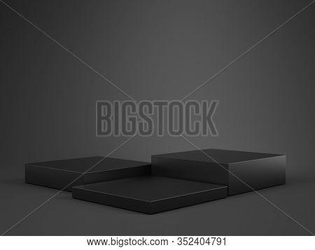 Black Pedestal on white background, Blank Pedestal minimal concept template - 3d rendering mockup