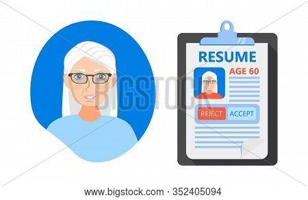 Recruitment Ageism Concept Vector. Hr Agency Age Discrimination And Cv Of Senior Employee. Unfair Em